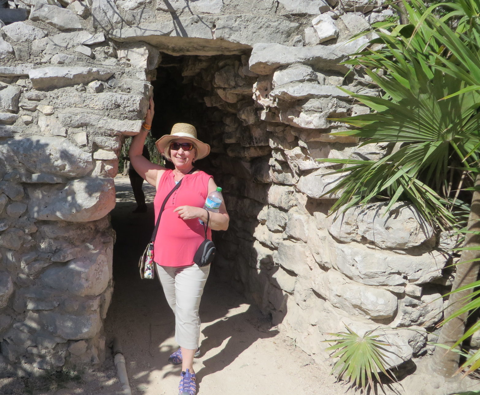 Laurie at Tulum ruins